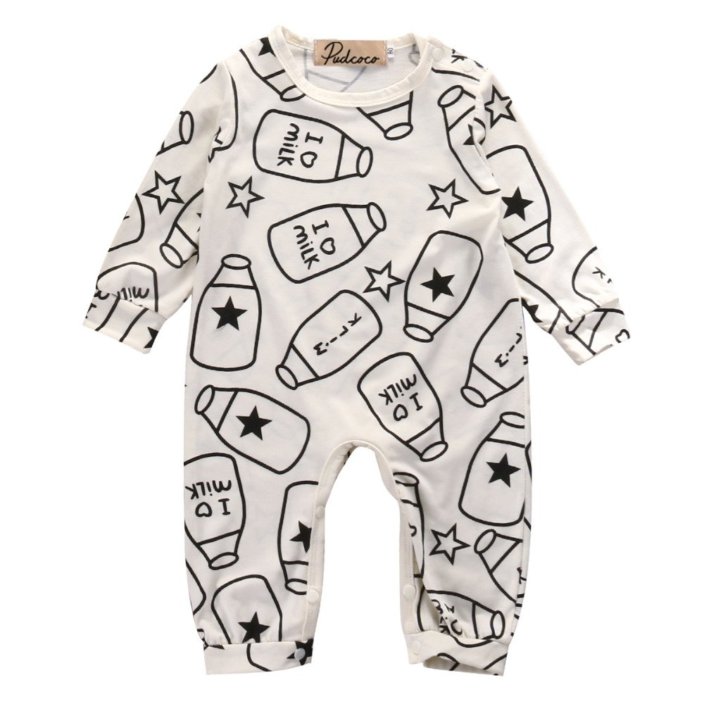 Newborn Baby Girl Boy Romper Milk Pajamas Bodysuit One-piece Outfits, Size 3 Months Push2Posh