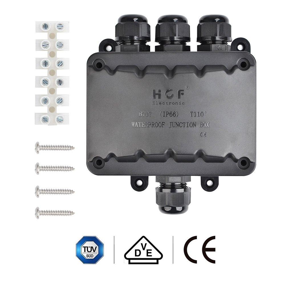 ATPWONZ Caja de Conexiones IP66 del Conector Exterior de 4 V/ías Cable de la Caja de Empalmes M16 Gl/ándula Cable /Ø 5 mm 10 mm Negro