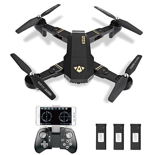 ToyPark XS809W Selfie Faltbare Kamera Drohne FPV WIFI Quadrocopter Live Übertragung APP steuerbar Hover 12 Minuten Flugzeit große Drone für alle Stufen-Piloten, plus Garantie (schwarz 3 Akkus)