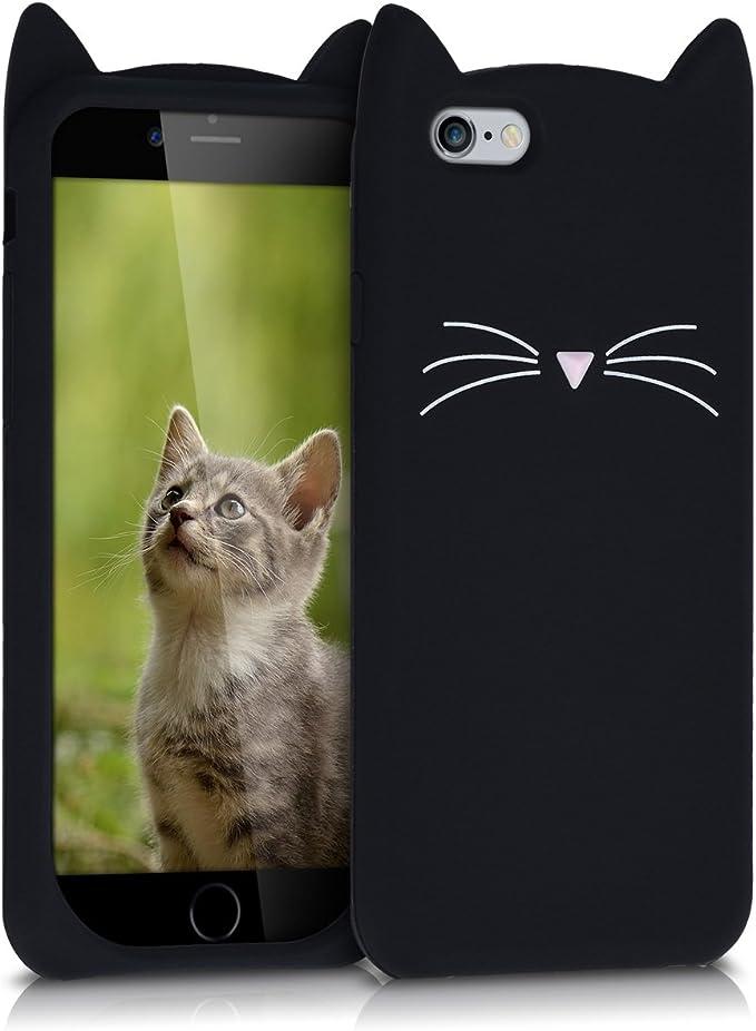 kwmobile Cover Compatibile con Apple iPhone 6 / 6S - Custodia in Silicone TPU - Copertina Protettiva Back Case Backcover - Gatto Nero/Bianco