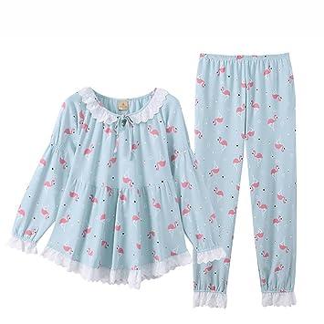 HXQ Pijama para Mujer Algodón Manga larga Camiseta y Pantalones largos , green , s