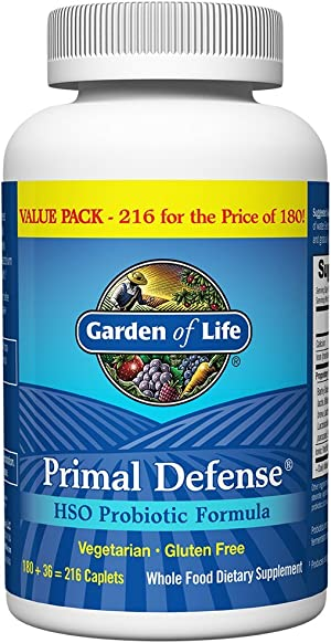 Garden of Life Whole Food Probiotic Supplement, Primal Defense Hso Probiotic Dietary Supplement for Digestive and Gut Health, 216 Vegetarian Caplets