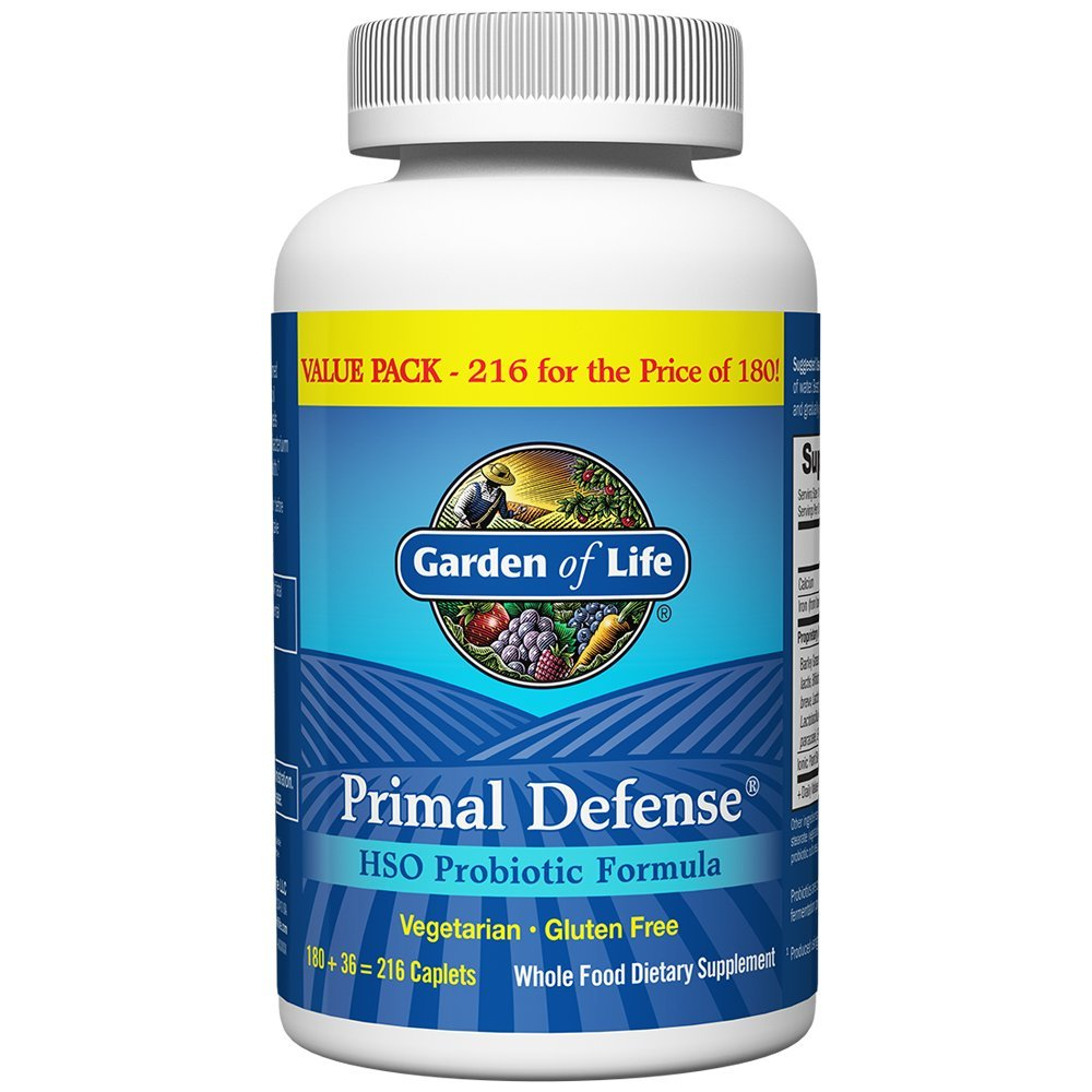 Garden of Life Whole Food Probiotic Supplement - Primal Defense HSO Probiotic Dietary Supplement for Digestive and Gut Health, 216 Vegetarian Caplets by Garden of Life