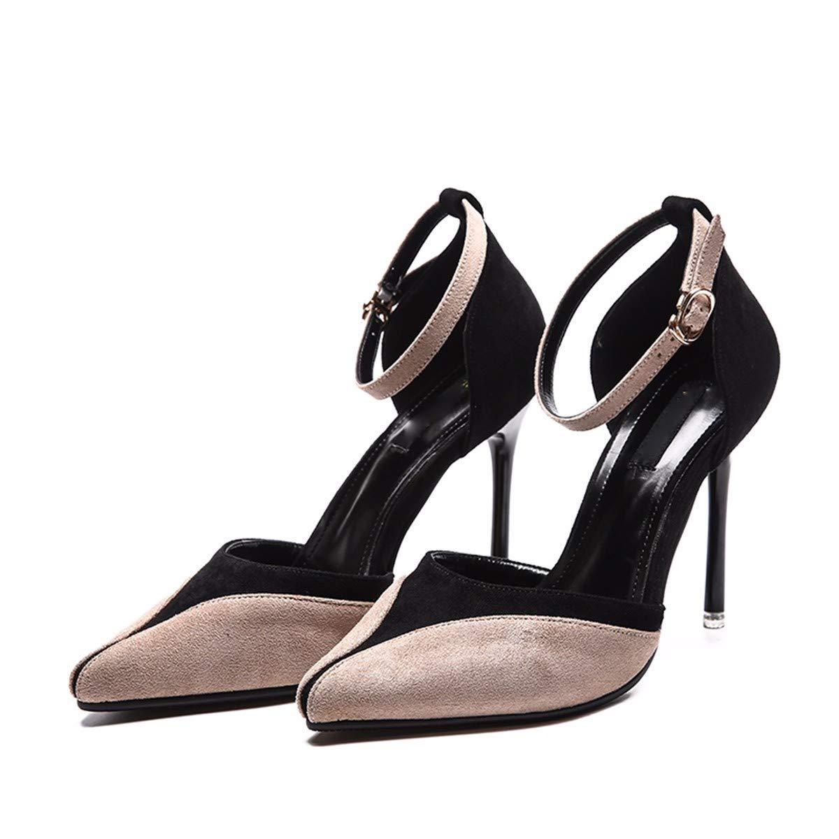 KPHY Chaussures Femmes/des Talons DE 10 Cm De Haut Le Printemps Et L'Été Coloriage Chaussures Pointues Princesse Mince Petit Frais Cool Les Chaussures.Trente - Neuf Beige