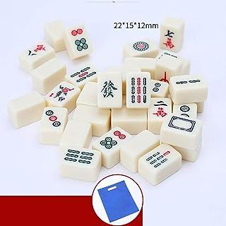 NuoEn Mini Mahjong con Sacchetto Set di Gioco Versione Cinese Tradizionale Portatile 144 Piastrelle Materiale Acrilico mAh-Jongg Viaggio Famiglia Tempo Libero Regalo Creativo decompressione
