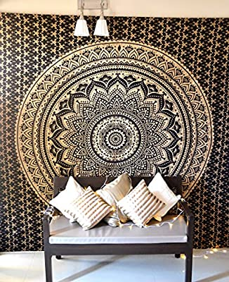 Bohemian Mandala Tapestry Hippie Wall Hanging, Indian Ombre Mandala Bedding Bedspread Set for Bedroom, College Dorm Room Wall Art Decor or Home Blanket, Black Gold Queen Size Boho Beach Coverlet