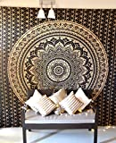 Difference Between King and California King Bed Bohemian Mandala Tapestry Hippie Wall Hanging, Indian Ombre Mandala Bedding Bedspread Set for Bedroom, College Dorm Room Wall Art Decor or Home Blanket, Black Gold Queen Size Boho Beach Coverlet