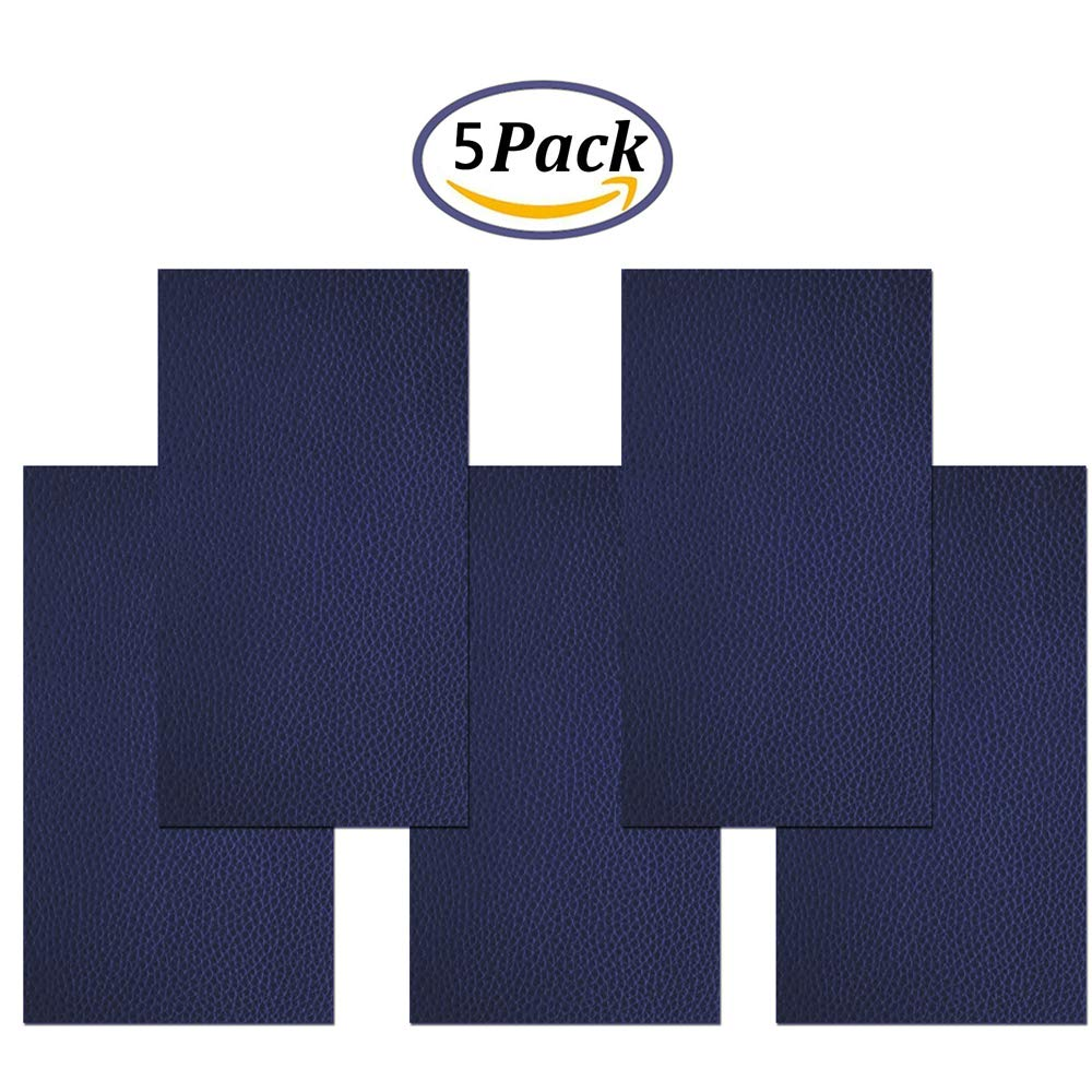 Leather Repair Patch Self-Adhesive 5 Pieces First Aid Patch for Sofa Car Seat Handbag Jackets(Blue)