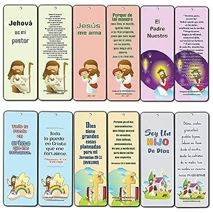 Marcapáginas Cristianos en Español para Niños y Niñas (12-Pack) - Regalo Perfecto Escuela Dominical Bautismo Cumpleaños Navidad
