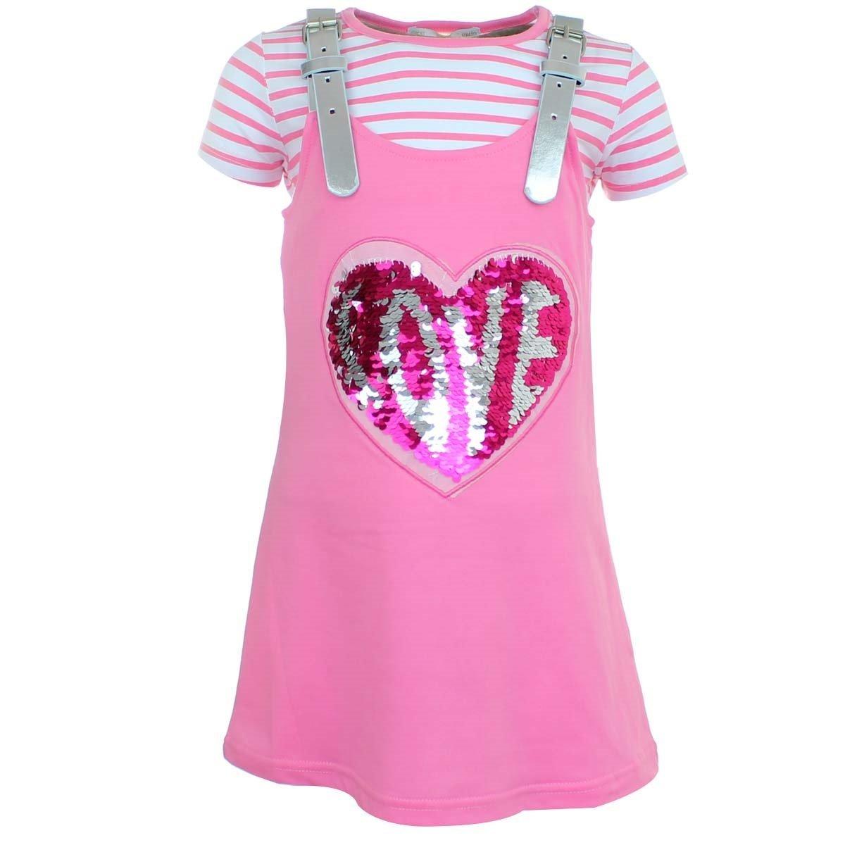 anja-wendt - Vestido - Falda con peto - para niña rosa 104: Amazon ...