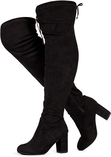 36f99aa0d01d RF ROOM OF FASHION Women s Wide Calf Over The Knee Chunky Heel Stretch Boots  Black SU
