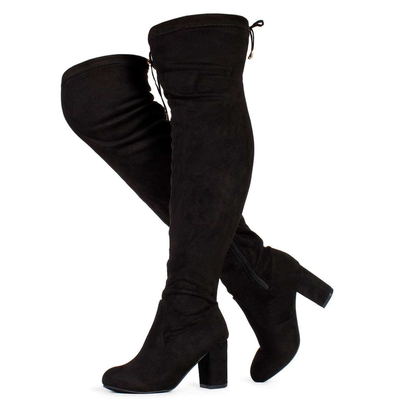 Wide Calf Black Su-3  Heel ROF Women's Fashion Comfy Vegan Suede Block Heel Side Zipper Thigh High Over The Knee Boots