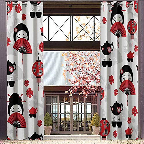 (hengshu Lantern Wear-Resistant Color Curtain Geisha Japanese Fan Ancient Chinese Traditional Tea Pot Lanterns Floral Graphic Design 2 Panel Sets W84 x L96 Inch Black Red)