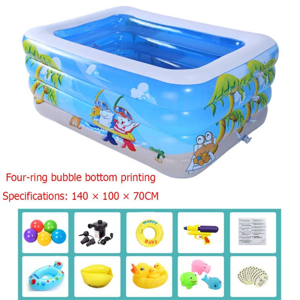 Blau DSFGHE Großes Kind Aufblasbare Schwimmbad Familie Rechteckige Baby Planschbecken Verdicken PVC Kind Aufblasbare Pools Sommer Tragbare Aufblasbare Badewanne,Blau