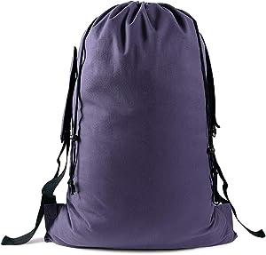 "Motony Large Canvas Laundry Bag Drawstring Burlap Bag Santa Sack Student Storage Bag Travel Bag Laundry Backpack Suitable for Student Apartment Family Storage『35""X 25""』"