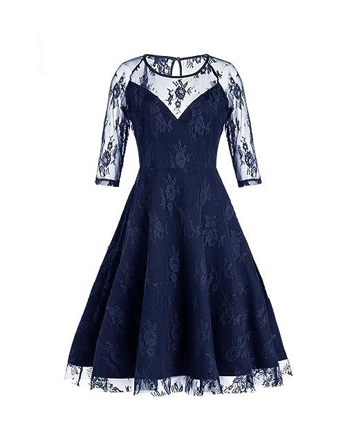 35465116c7df SAMGU Swing Party Dress Sexy Vintage Anni 50 in Pizzo da Donna Elegante Pizzo  Retro Maniche