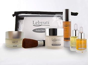 LEBYUTÍ Pack facial Antiedad. Crema antiarrugas hidratante + Serum efecto lifting + Contorno de ojos + Aceite Argán ...