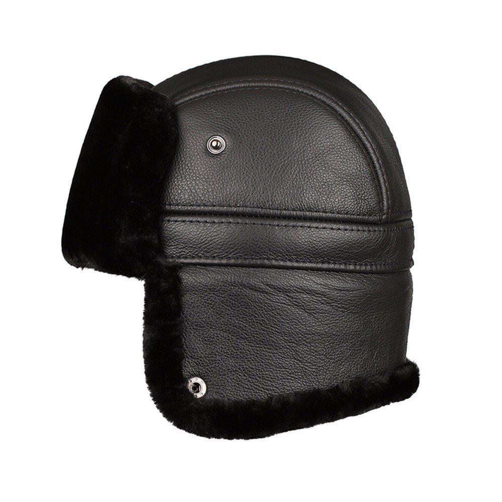 La mujer del cuero viejo sombrero de invierno masculino hombres de mediana edad señoras asamblea gor...