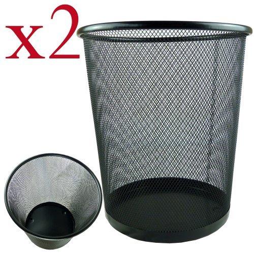 2 x Lightweight and Sturdy Circular Mesh Waste Bin (Black) by Bid Buy Direct