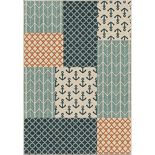 Cottage Sea (LV 5x7'6 Blue White Nautical Anchors Area Rug Rectangle, Indoor/Outdoor Navy Ocean Beach Carpet for Patio Coastal Floor Mat Sea Cottage Lake House Marine Life Vacation Patchwork, Polypropylene)