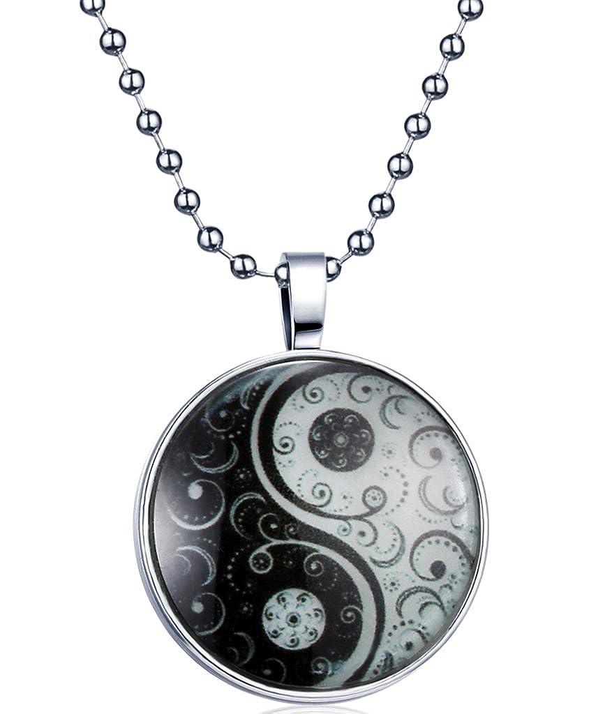 Yumilok Tai Chi Yin Yang Nachtleuchtend Anhänger Halskette Legierung Medaillon Amulett Kettenänhanger für Damen Herren, Blaues Licht Yumilok Jewelry Y30011
