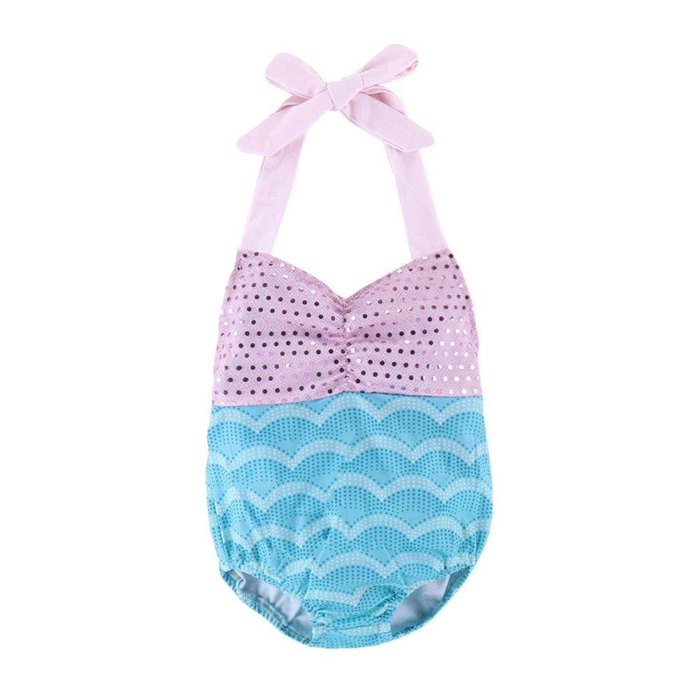 Bañador para bebés y niñas con correas de bañador y lazo, con lentejuelas, bañador de bikini y traje de baño pink blue Talla:70cm PURATEN