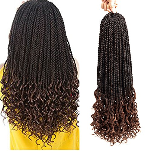 affordable VRUnique 6 pack (20Inch, 1B/30) Ombre Goddess Senegal Twist Crochet Braids Hair With Curly Wave Ends Synthetic Kanekalon Fiber Braiding Hair High Temperature Hair Extensions 30 Strands/Packs