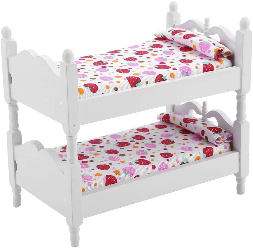 Miniature Dolls House Bed Dollhouse Miniature Funiture Furniture Model Set Doll Bunk Bed Durable 1:12 Wooden Dolls House Furniture Queen Bed for(Pink Strawberry)