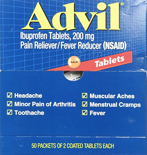 100 Individual Packets (Advil Pain Reliever, Individual Sealed 2 Tablets in a Packet (Box of 50 Packets) Total 100 Tablets. (200 mg each tablet))