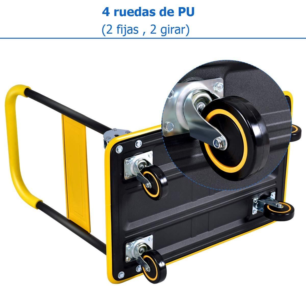 COSTWAY Plataforma de Carga Plegable Carro de Transporte con Ruedas Carretillade Mano hasta 150kg