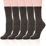 Womens 5 Pairs Soft Thick Comfort Casual Cotton Warm Wool Crew Winter Socks (5 Pack Black)