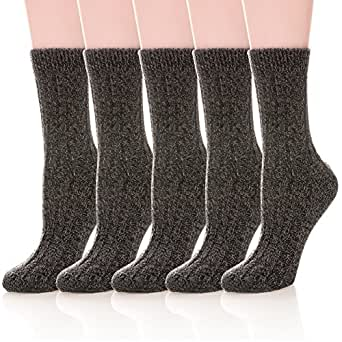 Womens 5 Pairs Soft Thick Comfort Casual Cotton Warm Wool Crew Winter Socks (5 Pack Black) at