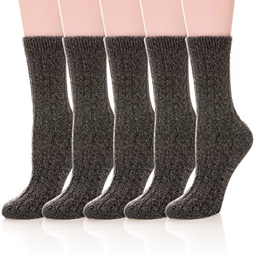 Womens 5 Pairs Soft Thick Comfort Casual Cotton Warm Wool Crew Winter Socks (5 Pack Black) (Black Soft Socks)