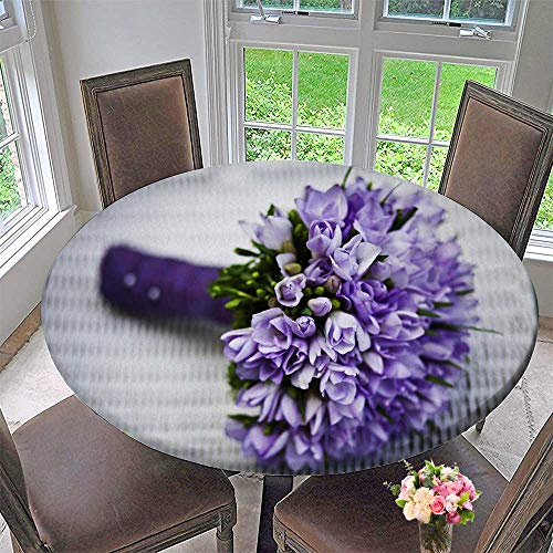 Mikihome Circular Table Cover Beautiful Purple Bouquets for Wedding/Banquet 55