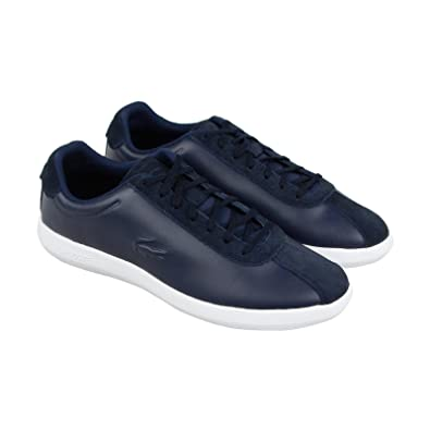 7bc2ee84a3be Lacoste Avance 318 2 SPM Mens Blue Leather Lace up Sneakers Shoes 8 ...