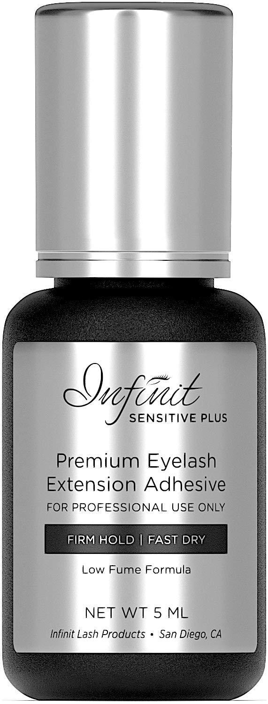 Sensitive Eyelash Extension Glue - Sensitive Plus Eyelash Glue for Individual Eyelashes | 4-5 Sec Dry Time | Retention - 6 Weeks | Low Fume Lash Glue | Black Eyelash Glue | Professional Use Only | 5ml