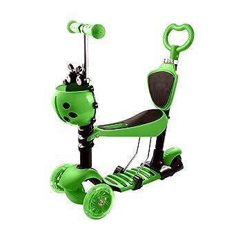 Qulista Patinete Plegable de 3 Ruedas LED Scooter Infantil con Mango Ajustable para Los Niños, Color Verde