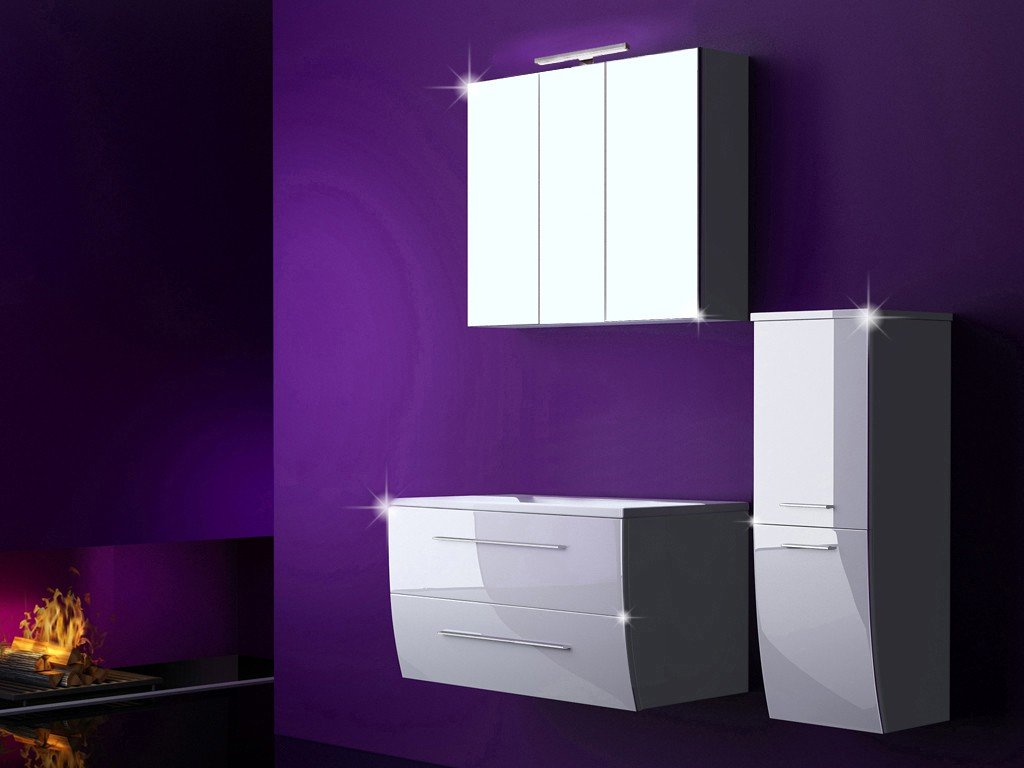 4 Tlg. Badmöbel Set Badezimmermöbel Komplett Set Waschbeckenschrank ...