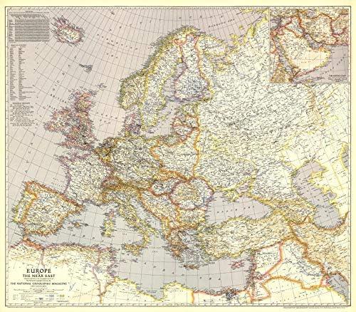 National Geographic: Europa y el Cercano Oriente 1943 Guerra Mundial - Serie histórica de mapas de pared - 38,75 x 86,36 cm - Papel enrollado: Amazon.es: Oficina y papelería