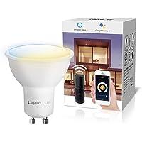 LE Bombillas Inteligentes GU10, Bombilla WiFi Funciona con Alexa y Google Home, Blanco Cálido a Frío, Bombilla LED…