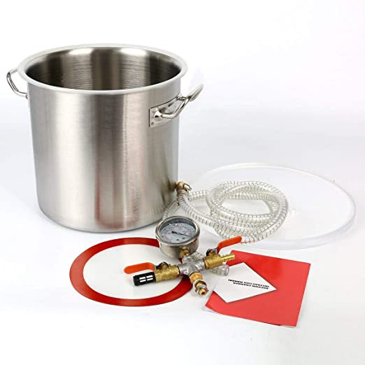 YaeTek 1.5 Gallon Stainless Steel Vacuum Chamber Kit with Acrylic Lid for Degassing Resins Silicone Epoxies Urethanes