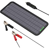 ALLPOWERS 18V 5W Portable Solar Car Battery Charger with Cigarette Lighter Plug, Battery Charging Clip Line, Suction Cups, Manual