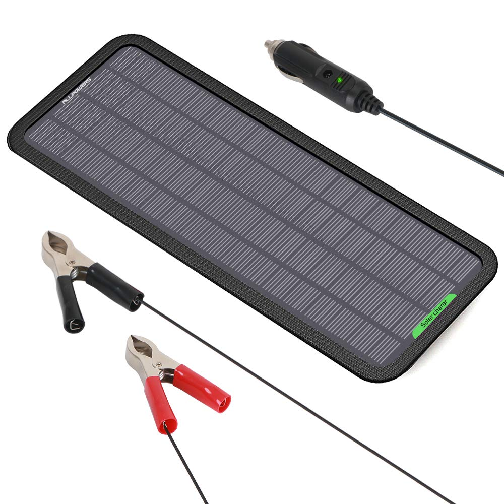 ALLPOWERS 18V 5 Watts Portable Solar Panel Solar Car Battery Charger Backup for Car Boat Batteries, Bundle with Cigarette Lighter Plug, Battery Clamps & Suction Cups by ALLPOWERS