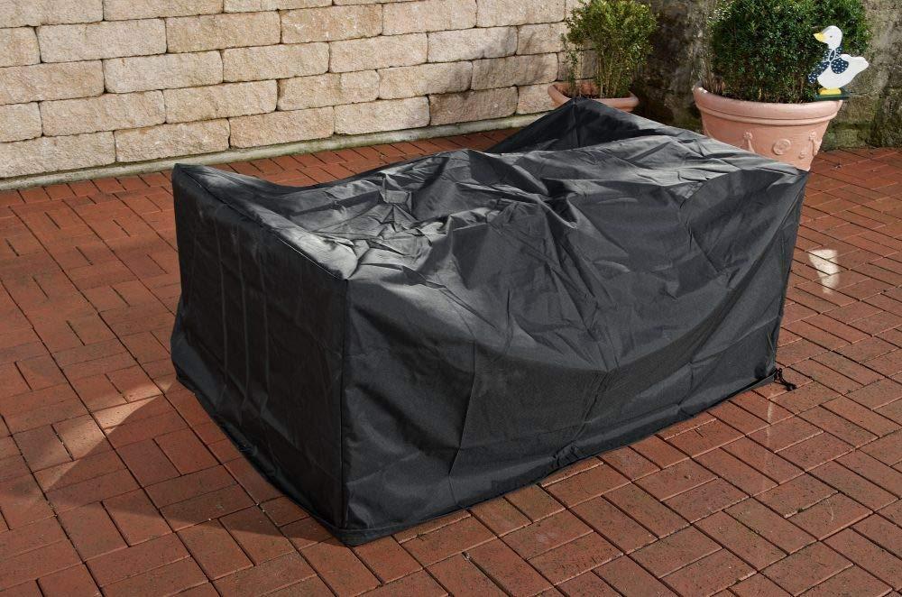 CLP Schutzhülle für Gartenmöbel 275 x 135 x 90 cm I Abdeckhaube Polyrattan Gartenmöbel I Abdeckplane Outdoor Schwarz