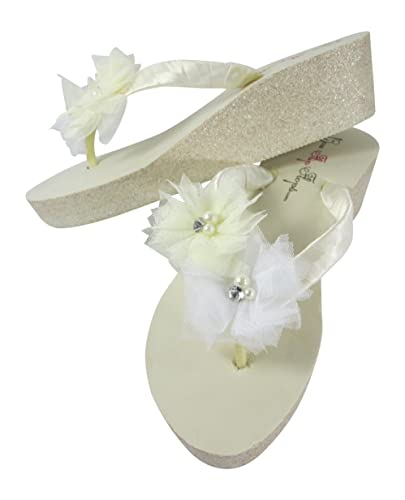 0de9a18a9991fd Amazon.com  Ivory Bridal Flip Flops with Tulle Flowers on Glitter Wedges in  Champagne Silver or Gold  Handmade