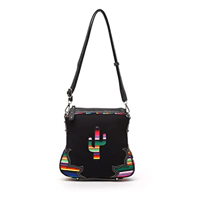 8ef6af2180 Western Handbag - Multi-Colored Serape Fabric Textured Stitched Cactus  Concealed Carry Crossbody Bag