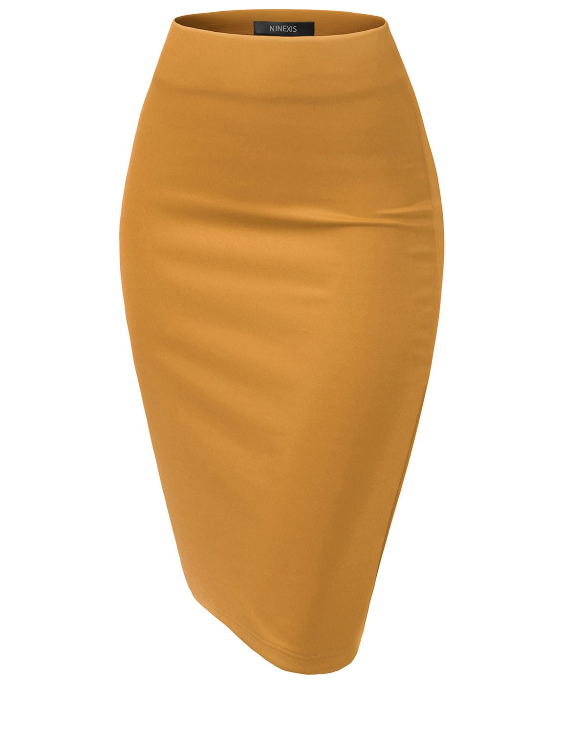 NINEXIS Womens Casual Elastic Waist Band Pencil Midi Skirt Turmeric XL