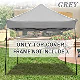 Strong Camel Ez pop Up Canopy Replacement Top instant 10'X10' gazebo EZ canopy Cover patio pavilion sunshade Polyester (Grey)