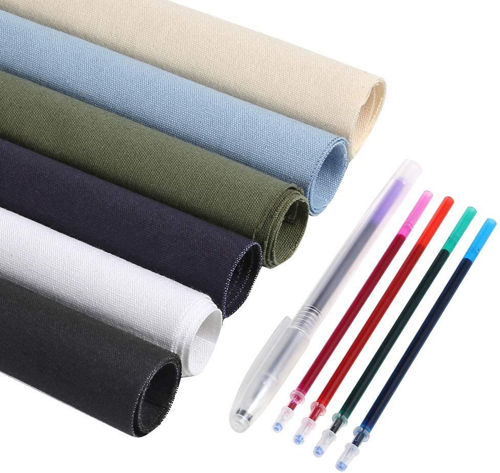 Caydo 6 Pieces Cotton Fabric for Embroidery, Including 6 Colors Embroidery Fabric 5 Colors Water-Soluble Pens for Embroidery Projects and Upholstery Decoration, 11.8 by 11.8-Inch