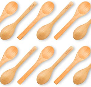 HANSGO Small Wooden Spoons, 12PCS 5 inches Small Soup Spoons Serving Spoons Wooden Teaspoon for Coffee Tea Jam Bath Salts